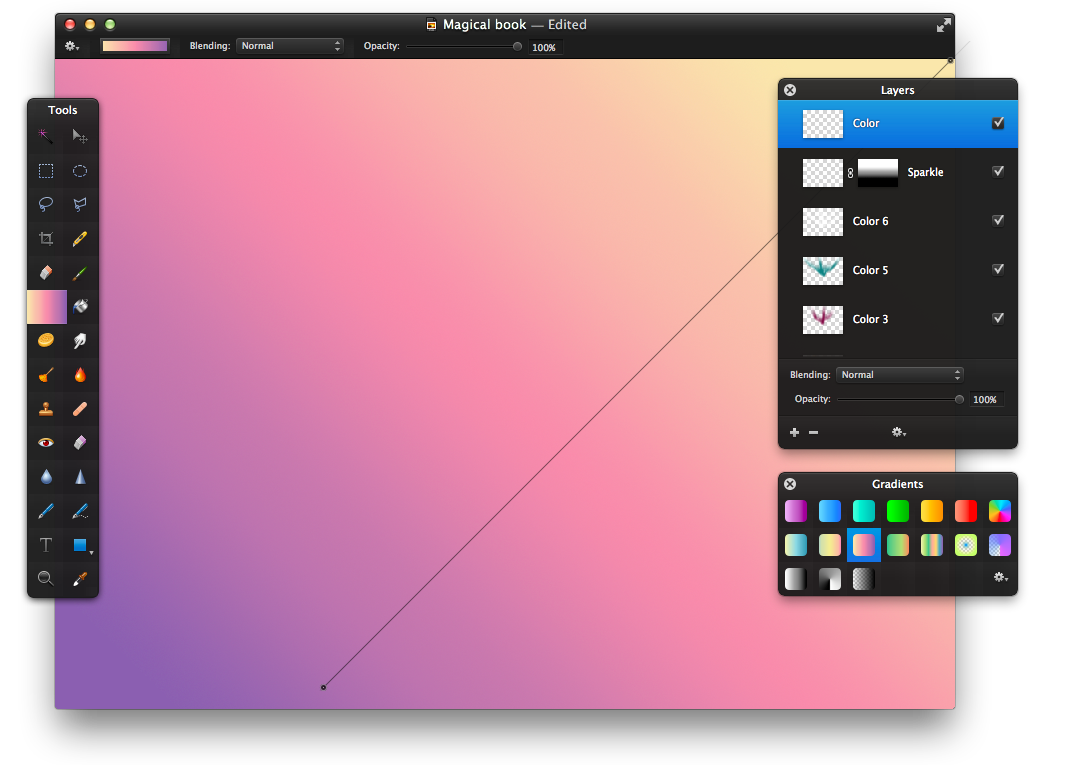 Book color palette -  On The Second Row Of The Gradients Palette Fill The New Layer With The Gradient And Set It S Blending To Linear Light And Reduce The Opacity To 10